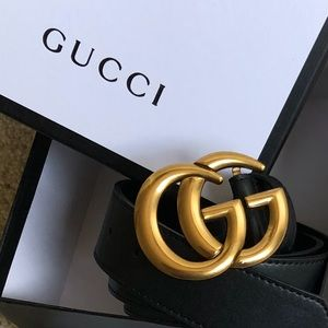 New Gucci GG Golden Logo Double G Leather Belt NWT